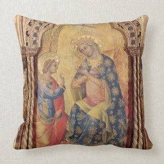 The Annunciation (part of polyptych) (oil on panel Throw Pillow