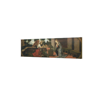 The Annunciation, predella panel from an altarpiec Canvas Print