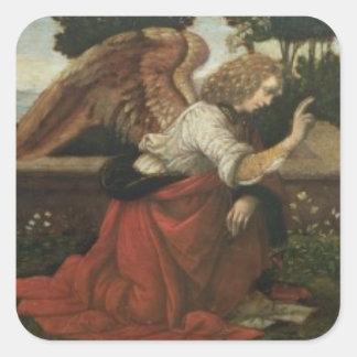 The Annunciation, predella panel from an altarpiec Square Sticker