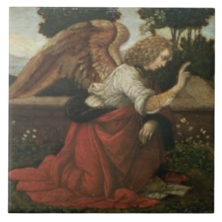 The Annunciation, predella panel from an altarpiec Tile