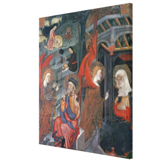 The Annunciation with Shepherds Making Cheese in t Canvas Print