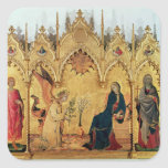The Annunciation with St. Margaret and St. Square Stickers