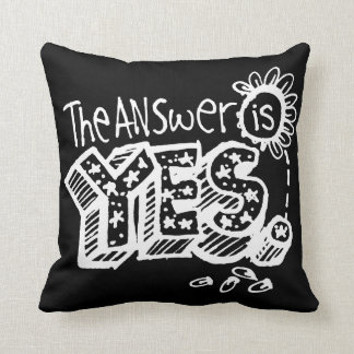 The Answer Is Yes/No Flip Dark Throw Pillow