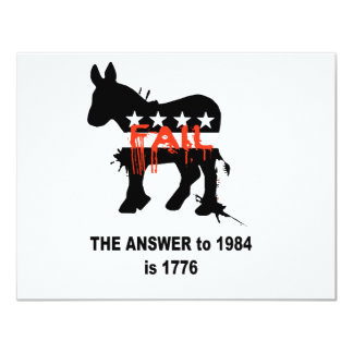 """The answer to 1984 is 1776 4.25"""" x 5.5"""" invitation card"""