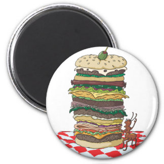 The Ant and the Big Sandwich 2 Inch Round Magnet