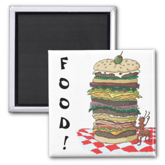 The Ant and the Big Sandwich 2 Inch Square Magnet