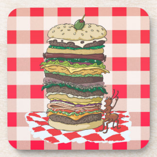 The Ant and the Big Sandwich Beverage Coaster