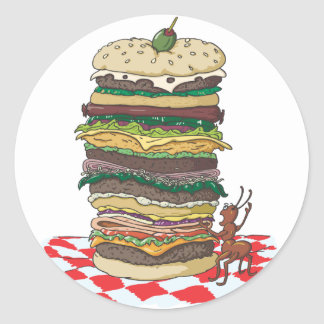 The Ant and the Big Sandwich Classic Round Sticker