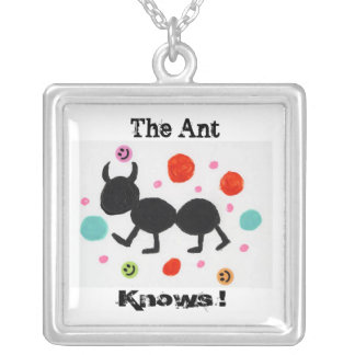 The Ant, Knows ! Square Pendant Necklace