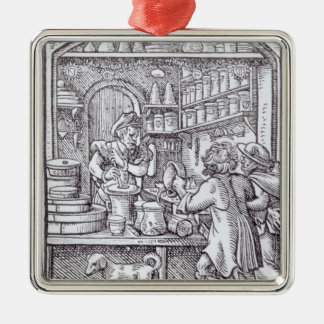 The Apothecary, published by Hartman Schopper Square Metal Christmas Ornament