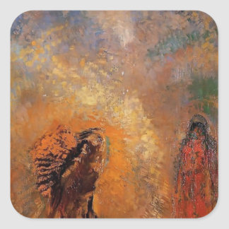 The Apparition by Odilon Redon Square Stickers