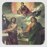 The Apparition of the Virgin to the Saints John th Square Sticker
