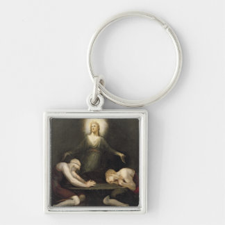 The Appearance of Christ at Emmaus, 1792 (oil on c Keychain
