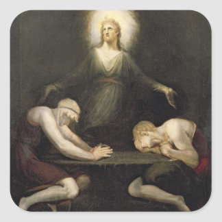 The Appearance of Christ at Emmaus, 1792 (oil on c Square Sticker