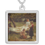 The Apple Gatherers, 1880 Square Pendant Necklace