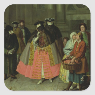 The Apple Seller (oil on canvas) Square Sticker