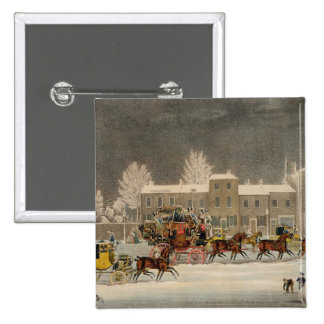 The Approach to Christmas, engraved by George Hunt 2 Inch Square Button
