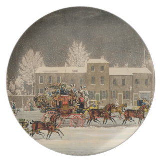The Approach to Christmas, engraved by George Hunt Melamine Plate