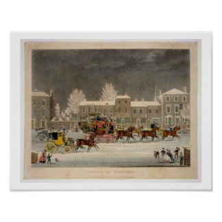 The Approach to Christmas, engraved by George Hunt Poster