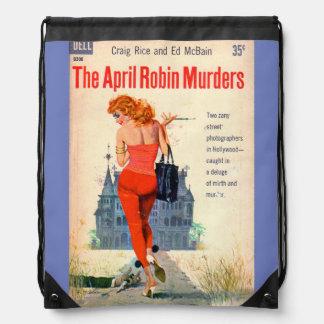 The April Robin Murders pulp novel cover Drawstring Bag