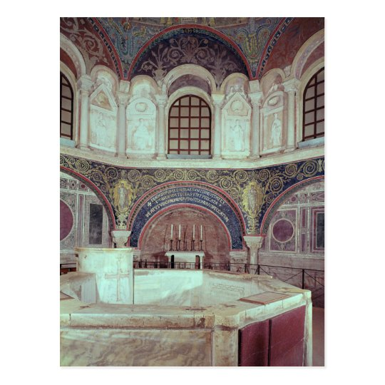 The apse with the baptismal font postcard