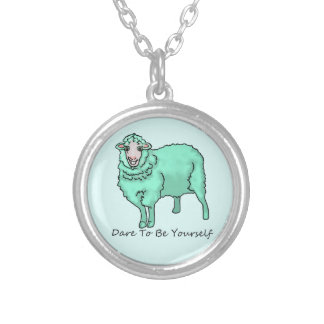 """The Aquamarine Sheep"" Silver Plated Necklace"