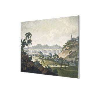 The aqueduct in Rio de Janeiro (colour engraving) Canvas Print