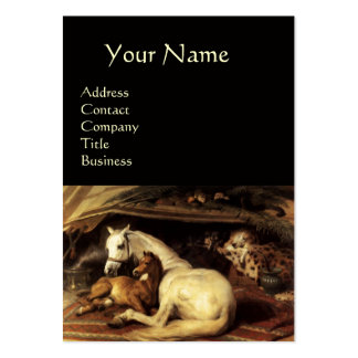 THE ARAB TENT WITH HORSES,OTHER ANIMALS ,black Large Business Card