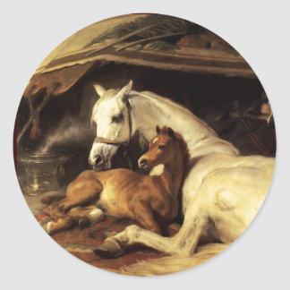 THE ARAB TENT WITH HORSES ,OTHER ANIMALS CLASSIC ROUND STICKER