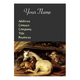 THE ARAB TENT WITH HORSES,OTHER ANIMALS ,grey Large Business Cards (Pack Of 100)
