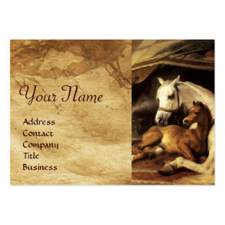 THE ARAB TENT WITH HORSES ,OTHER ANIMALS Parchment Business Cards