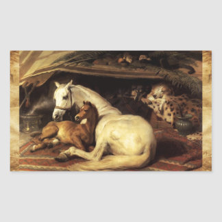 THE ARAB TENT WITH HORSES ,OTHER ANIMALS Parchment Rectangular Sticker