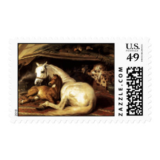 THE ARAB TENT WITH HORSES,OTHER ANIMALS POSTAGE STAMP