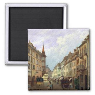 The Arcades, Grand Rue, Colmar, 1876 2 Inch Square Magnet