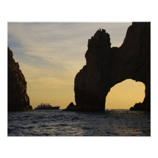 The Arch (El Arco) at Dusk with a Tour Boat in Print