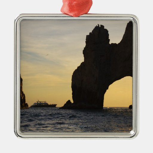 The Arch (El Arco) at Dusk with a Tour Boat in Square Metal Christmas Ornament