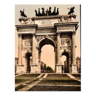 The Arch of Peace, Milan, Italy vintage Photochrom Postcard