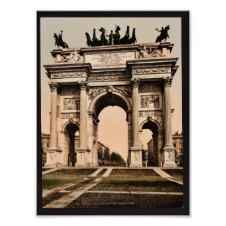 The Arch of Peace Milan Italy vintage Photochrom Posters