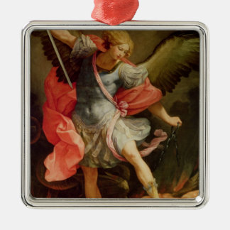 The Archangel Michael defeating Satan Square Metal Christmas Ornament
