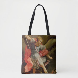 The Archangel Michael defeating Satan Tote Bag