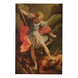 The Archangel Michael defeating Satan Wood Wall Decor