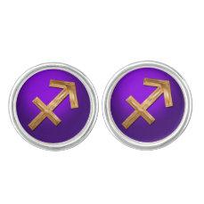 The Archer's Zodiac Sign Golden Glyph Cufflinks