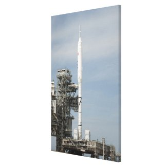 The Ares I-X rocket is seen on the launch pad Canvas Print