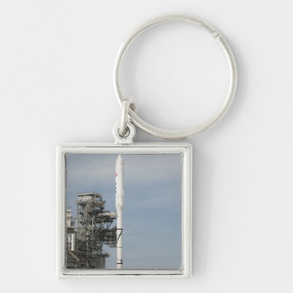 The Ares I-X rocket is seen on the launch pad Keychains
