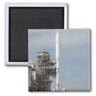 The Ares I-X rocket is seen on the launch pad Fridge Magnet