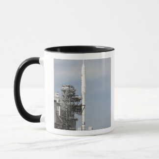 The Ares I-X rocket is seen on the launch pad Mug
