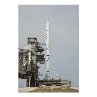 The Ares I-X rocket is seen on the launch pad Poster