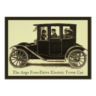The Argo Fore-Drive Electric Town Car ~ Vintage Poster