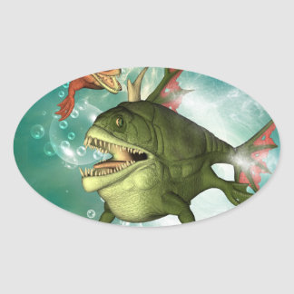 The armour fish with bubbles oval sticker
