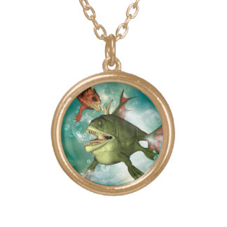 The armour fish with bubbles round pendant necklace